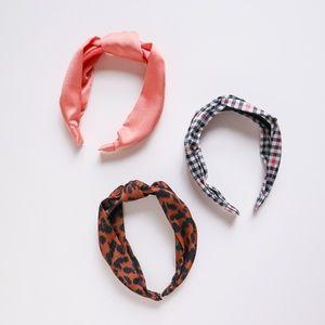 H&M Accessories - H&M Pink, Plaid & Leopard Satin Headband Set
